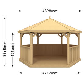 Cedar Tiled Roof Hexagonal 4.7m Gazebo