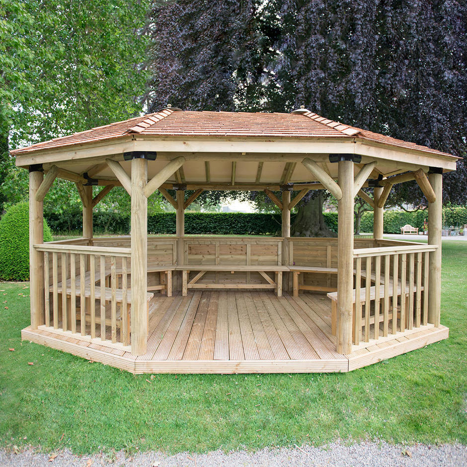 Furnished Oval Gazebos with Cedar Roof