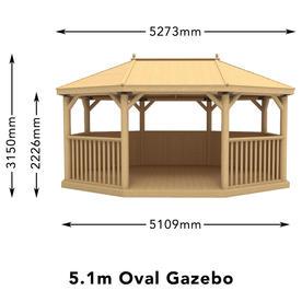 Cedar Roof 5M Oval Gazebos
