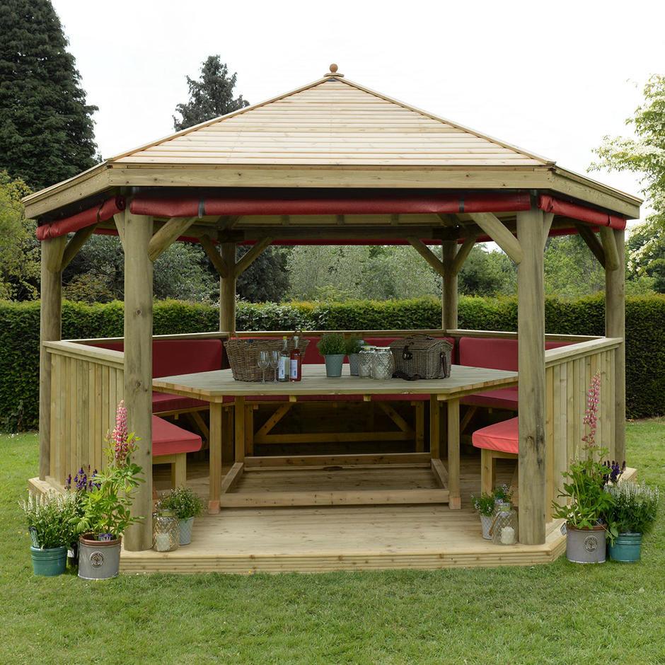 Furnished Timber Roofed Hexagonal 4.7m Gazebo