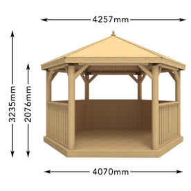 Furnished Timber Roofed Hexagonal 4m Gazebo