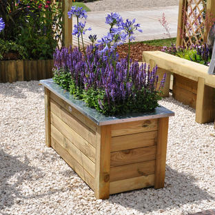 Cambridge Low Rectangular Wooden Planters