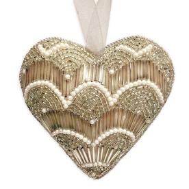 Beaded Vintage Gold Heart Decoration