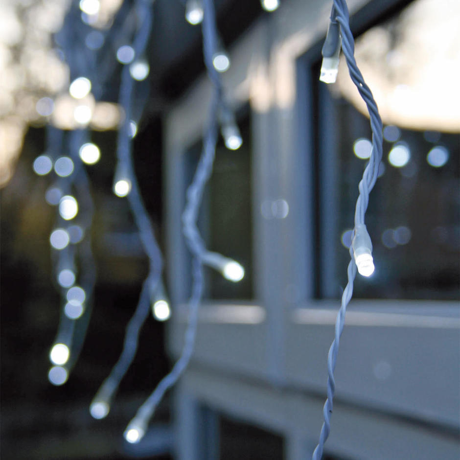 White LED Snowing Icicle Lights