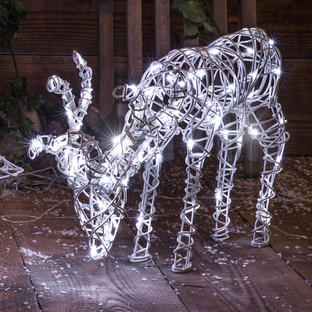 Outdoor Grazing Reindeer with LED Lights