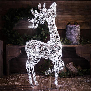 Outdoor Wicker Reindeer with LED Lights