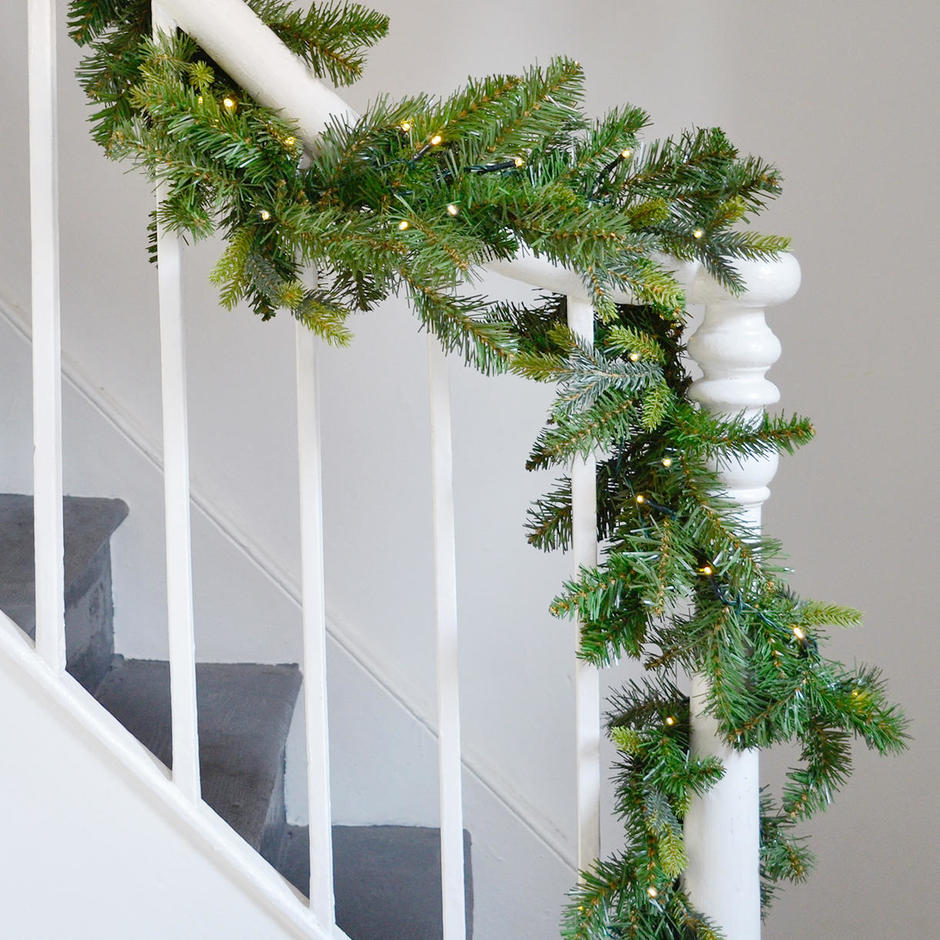 Faux Alpine Fir LED Battery Lit Garland