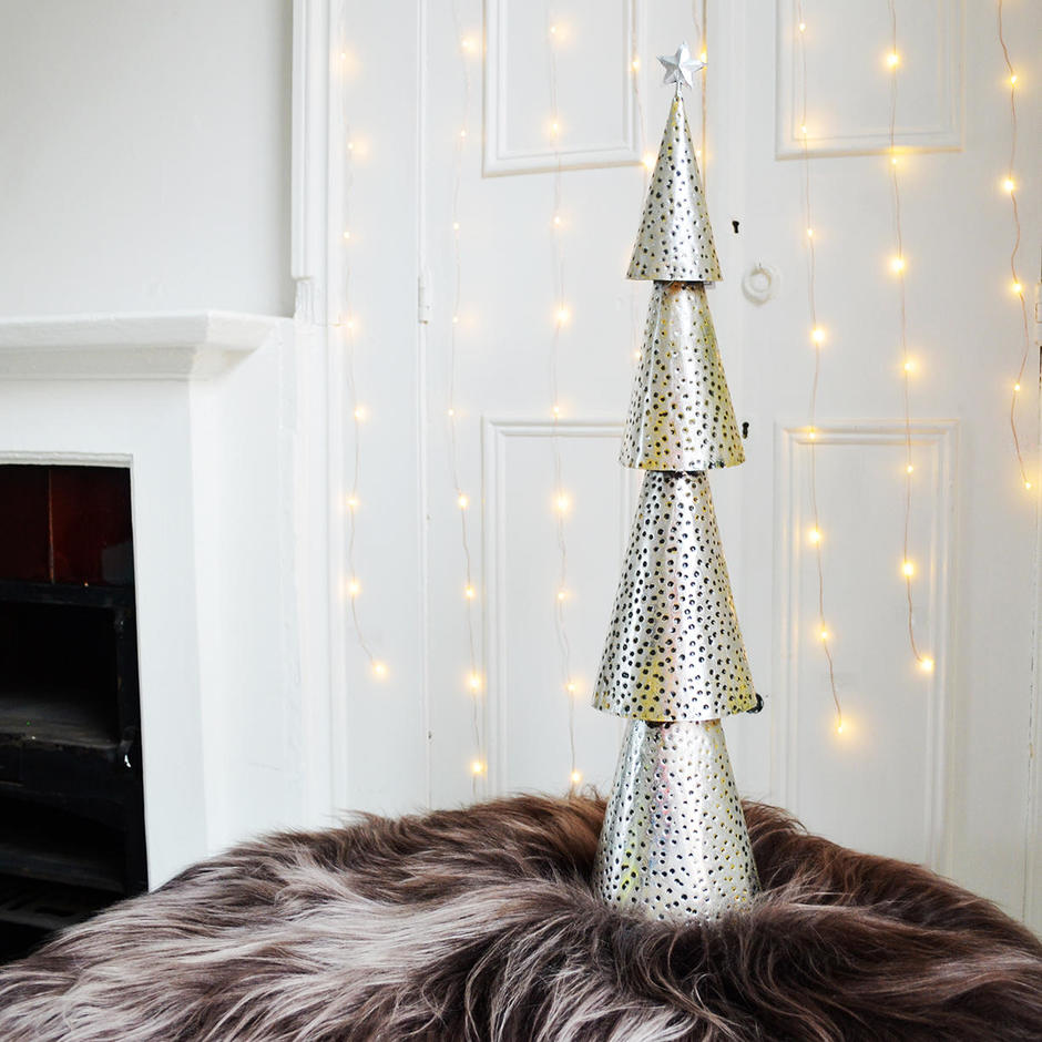 Tall Tiered Silver Christmas Tree