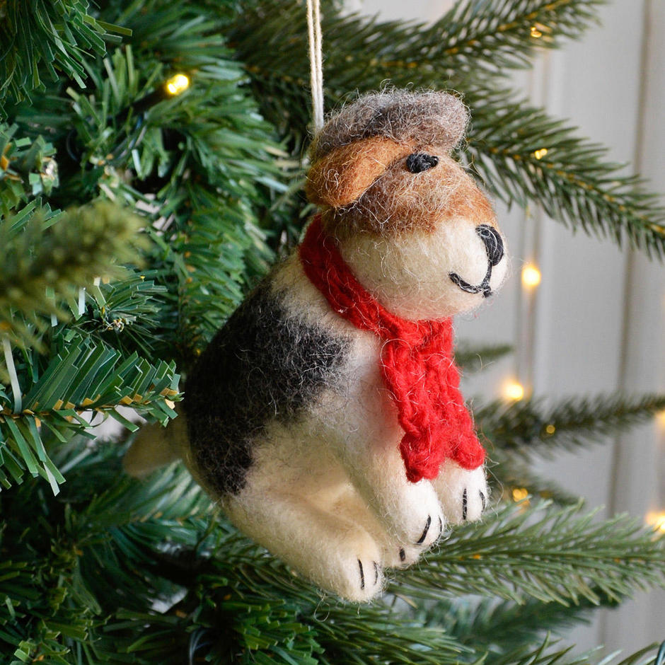Sitting Fox Terrier Christmas Decoration