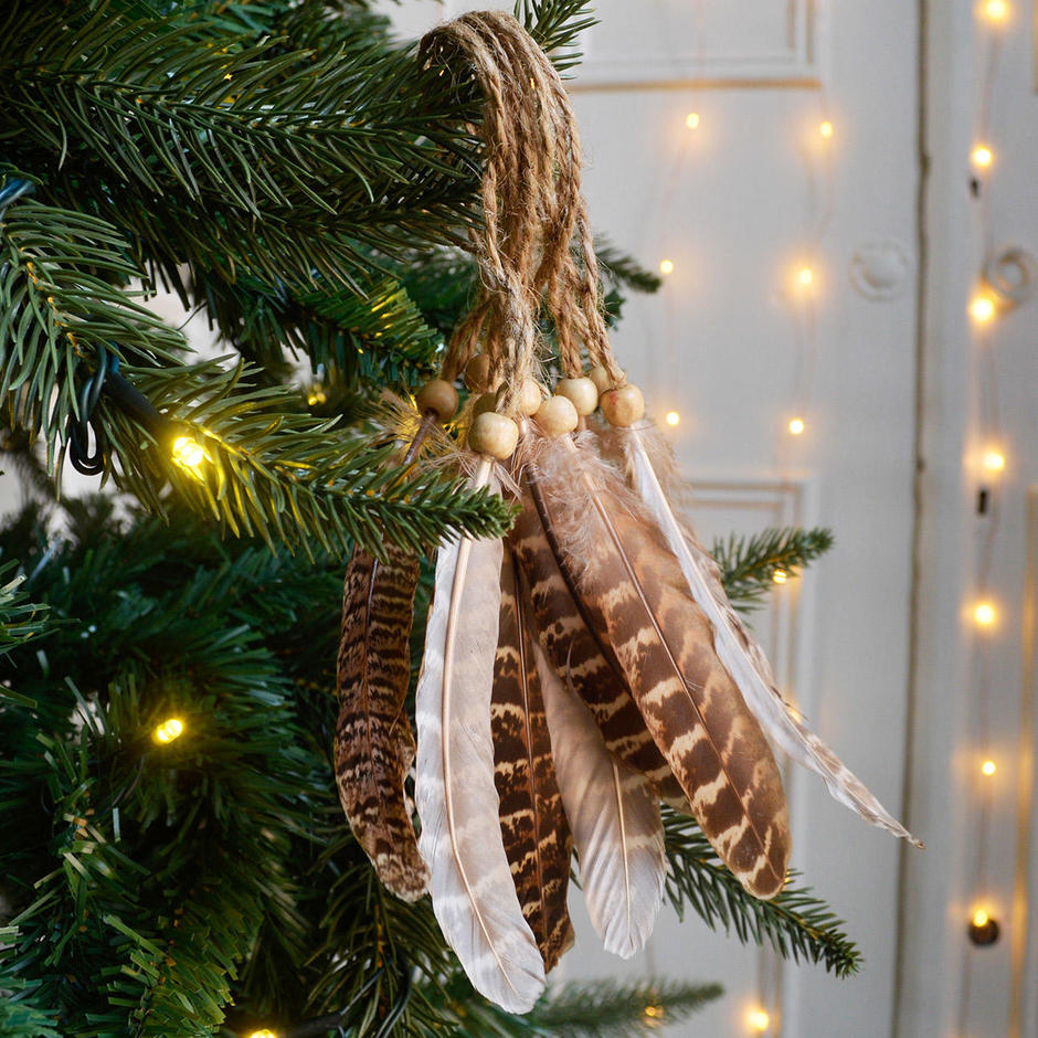 Set of 10 Hanging Feather Decorations