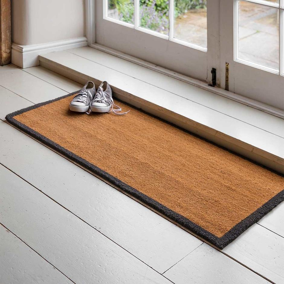 Coir Double Doormat with Charcoal Border