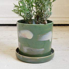 Glazed Indoor Plant Pot and Saucer