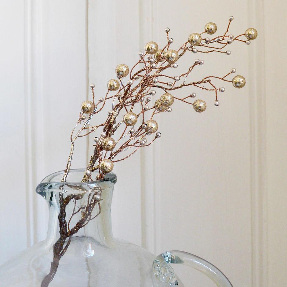 Champagne Beaded Twig Stem
