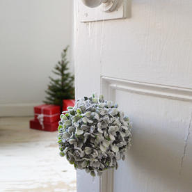 Hanging Snow Covered Boxwood Balls
