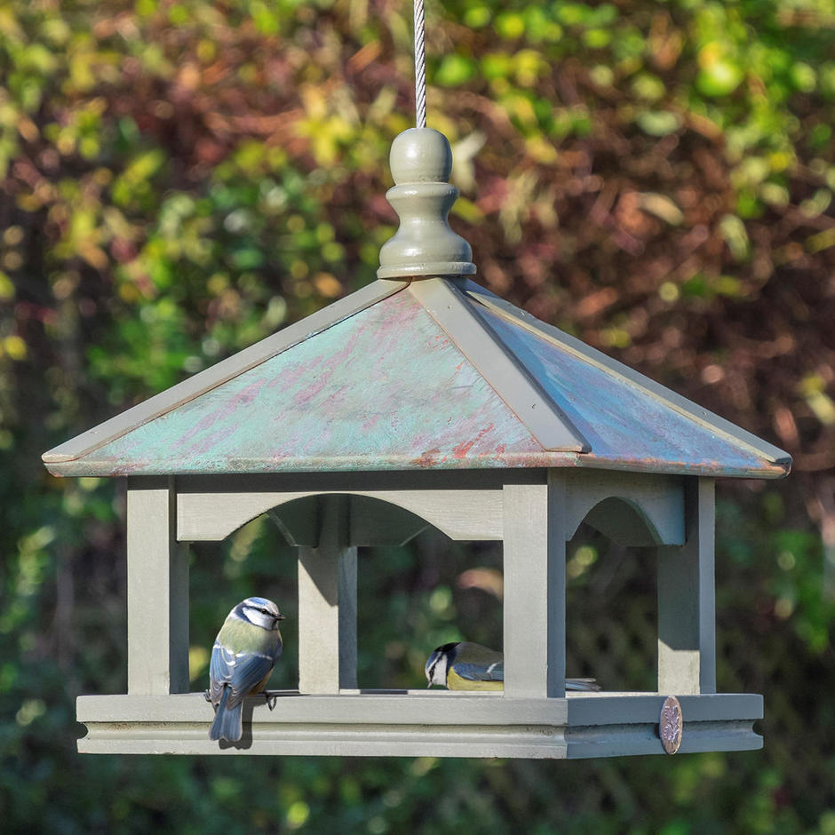 Buy Classic Copper Roofed Hanging Bird Table The Worm That Turned Revitalising Your Outdoor Space