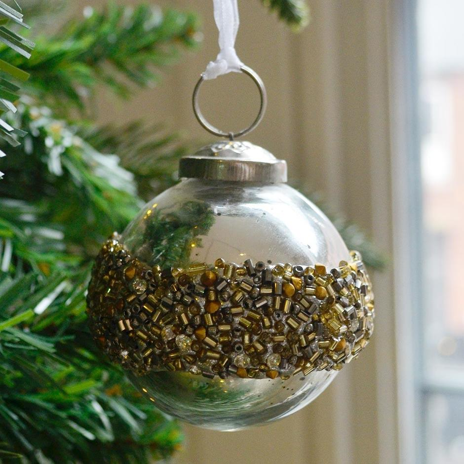 Gold Ringed Bead Bauble