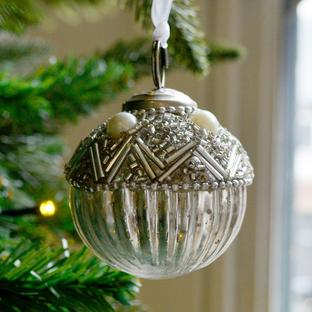 Bead Topped Silver Bauble