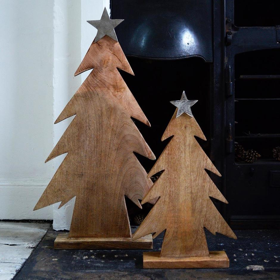 Wooden Trees Topped with Silver Star
