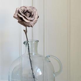 Glittered Taupe Grey Rose Stem