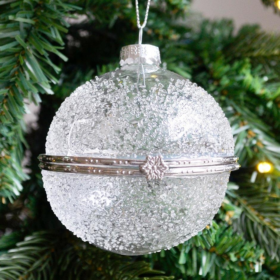 Ice Effect Glass Trinket Bauble