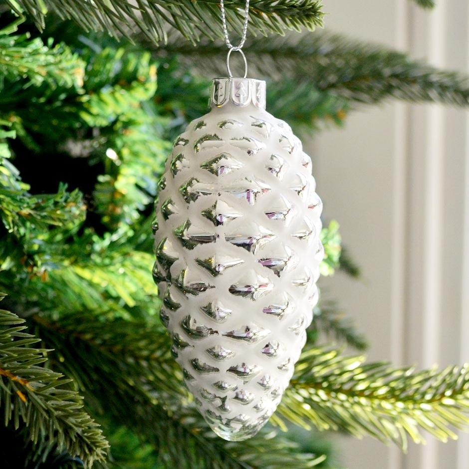 White Glass Pine Cone Bauble