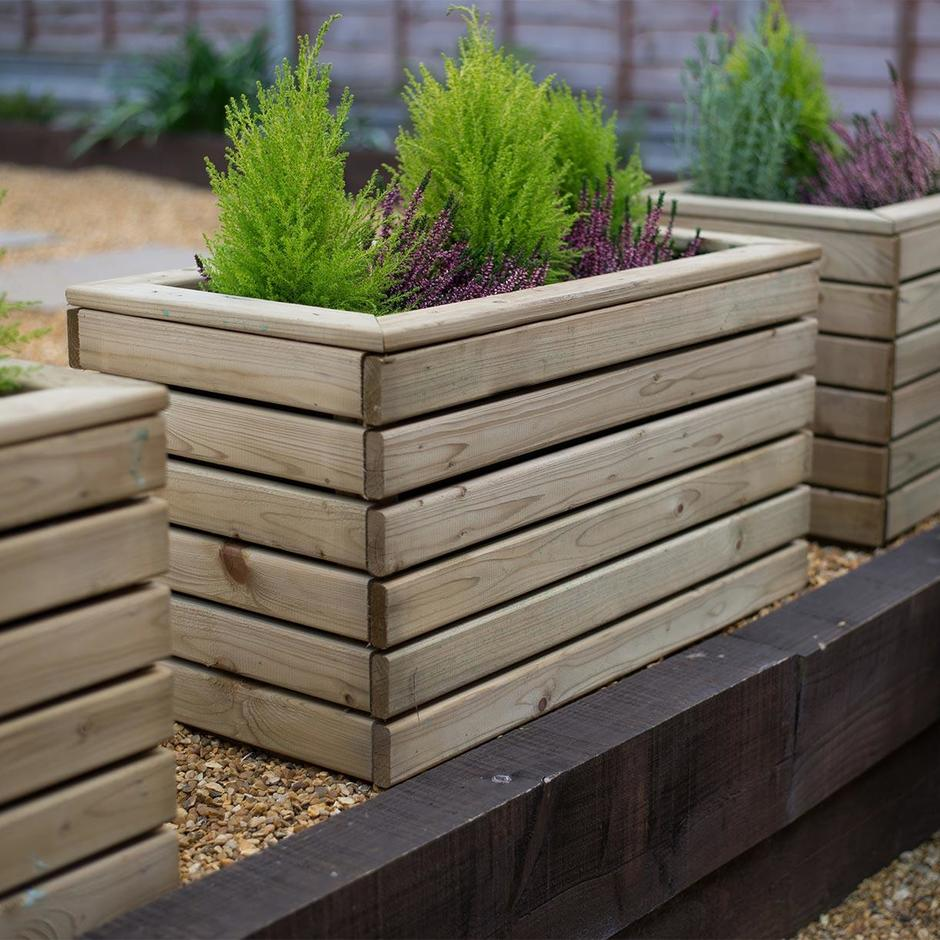 Buy Linear Wooden Planters By Forest Garden The Worm That Turned Revitalising Your Outdoor Space
