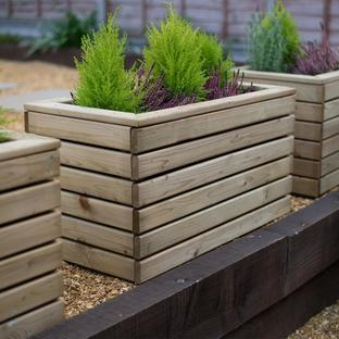 Linear Rectangular Wooden Planters