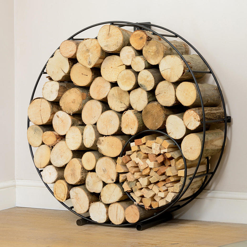 Circular Wire Log & Kindling Holder Stand