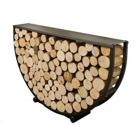 Semi Circular Steel Log Store with Shelf