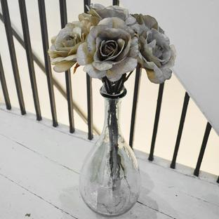Glittered Taupe Grey Rose Stem