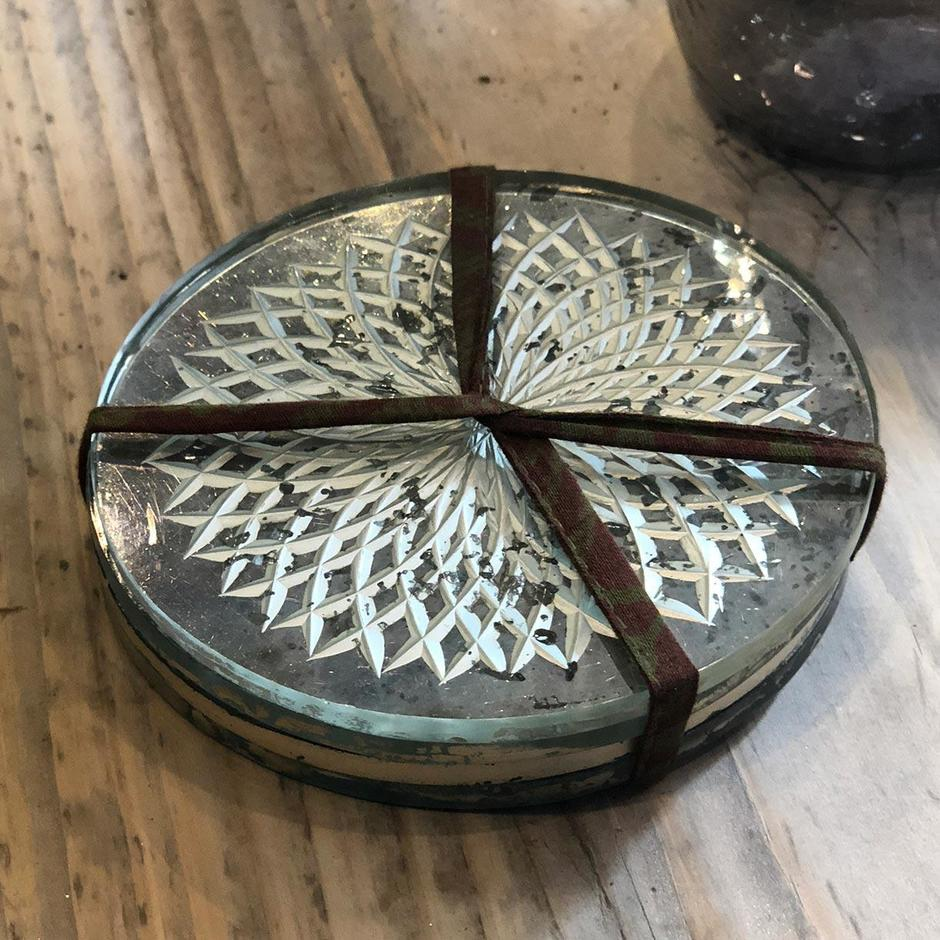 Antique Styled Etched Glass Coasters