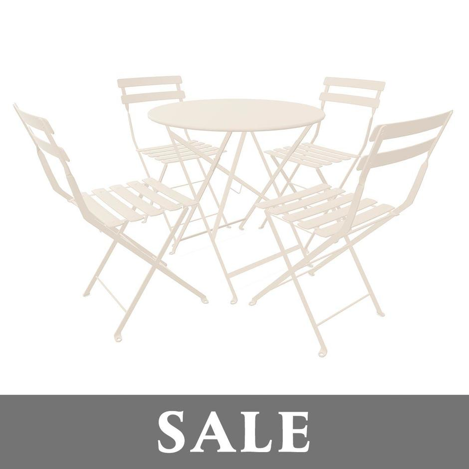 4 x Bistro Chairs - Linen + Bistro 77 Table - Linen