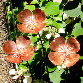 Copper Poppy Flower Stakes