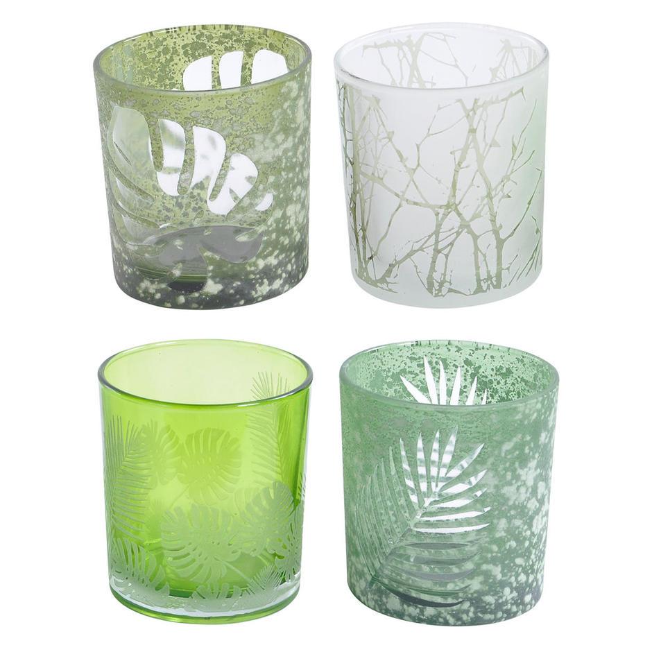 Leaf Design Green Votives - Set of 4