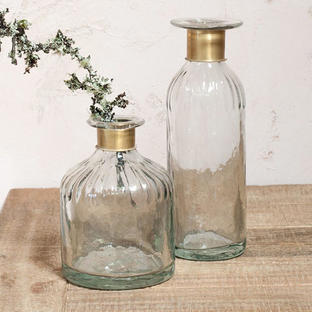 Antique Brass Collared Decanters