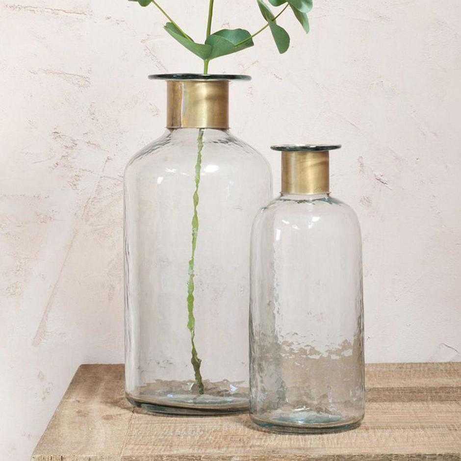 Rustic Open Necked Bottle with Brass Collar