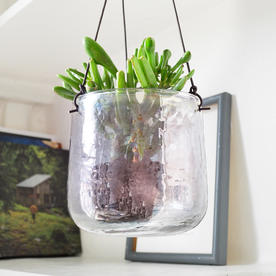 Aged Silver Recycled Glass Hanging Planters