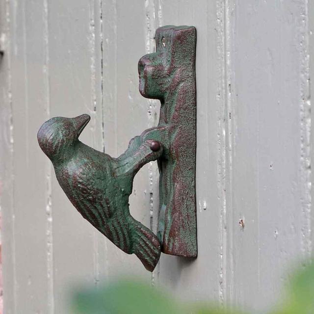 Buy woodpecker door knocker the worm that turned for Door knockers uk