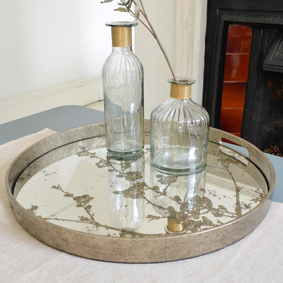 Mercury Mirrored Blossom Trays