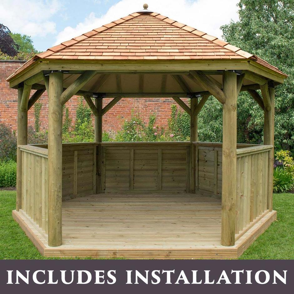 Cedar Tiled Roof Hexagonal 4m Gazebo