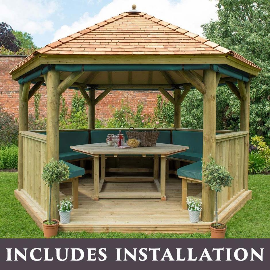 Furnished Cedar Tiled Roof Hexagonal 4m Gazebo