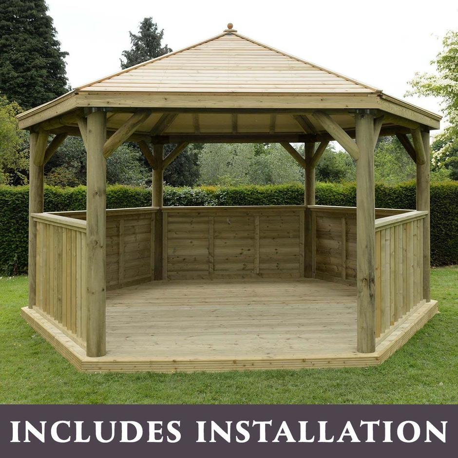 Timber Roofed Hexagonal 4.7m Gazebo