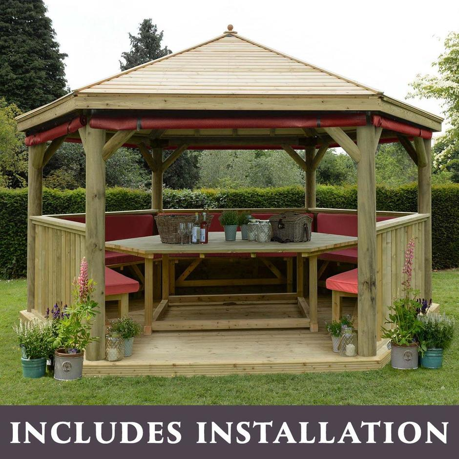 Furnished Timber Roofed Hexagonal 4.7m Gazebo