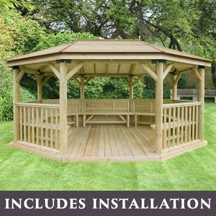 Furnished Oval Gazebos with Timber Roof