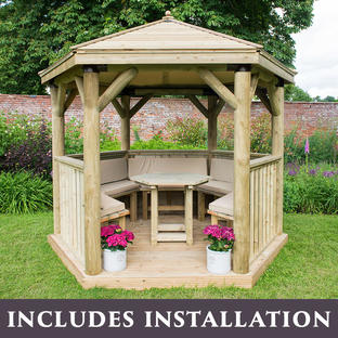 Furnished Timber Roofed Hexagonal 3m Gazebo