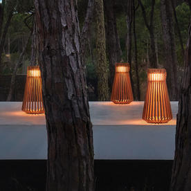 Ray Buffed Teak LED Lantern