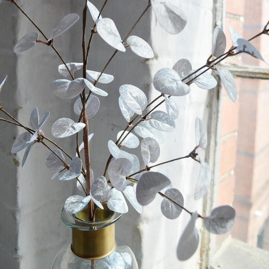 Silver Metallic Eucalyptus Spray