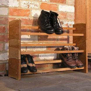 Stackable Oak Shoe Rack