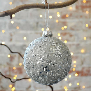 Silver Confetti Covered Bauble
