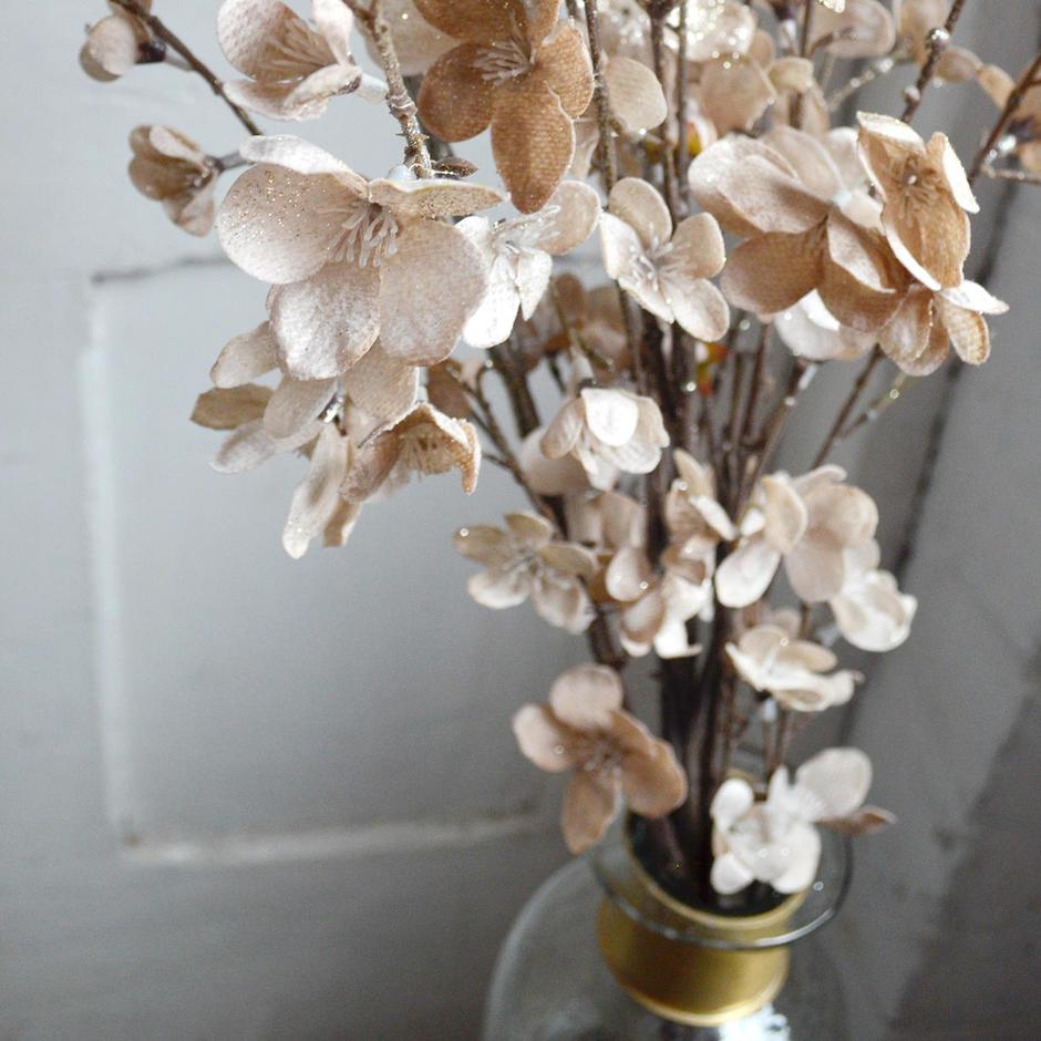 Glittered Taupe Blossom Stem